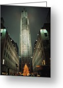 Decoration And Ornament Greeting Cards - Night View Of Rockefeller Center Greeting Card by Todd Gipstein