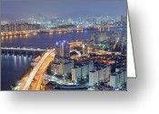 Waterfront Greeting Cards - Night View Of Seoul Greeting Card by Tokism