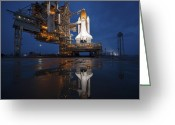 Space Travel Greeting Cards - Night View Of Space Shuttle Atlantis Greeting Card by Stocktrek Images