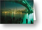 Missouri Greeting Cards - Night View Of St. Louis, Mo Greeting Card by Michael S. Lewis