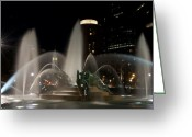 City Hall Digital Art Greeting Cards - Night View of Swann Fountain Greeting Card by Bill Cannon
