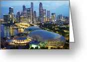 Shorelines Greeting Cards - Night View Of The Esplanade And Central Greeting Card by Justin Guariglia