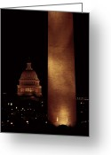 Telephoto Greeting Cards - Night View Of The Washington Monument Greeting Card by Medford Taylor