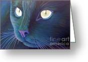 Feline Painting Greeting Cards - Night Vision Greeting Card by Brian  Commerford