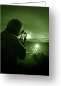Helmet Greeting Cards - Night Vision View Of A Special Greeting Card by Tom Weber
