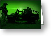 Firearms Photo Greeting Cards - Night Vision View Of U.s. Special Greeting Card by Tom Weber