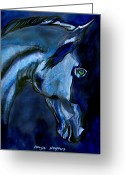 Horse Drawings Greeting Cards - Night Visions Greeting Card by Tarja Stegars