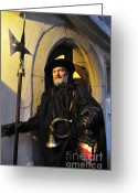 Cowl Greeting Cards - Night watchman in old historic town Greeting Card by Matthias Hauser