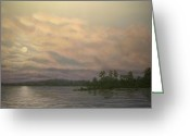 Lake With Reflections Greeting Cards - Nightfall - Moonrise On The Waterfront Greeting Card by Kathleen McDermott