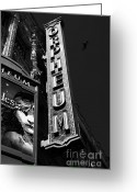White Wing Greeting Cards - Nightfall at The Orpheum - San Francisco California - 5D17991 - Black and White Greeting Card by Wingsdomain Art and Photography