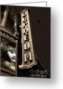 Musicals Greeting Cards - Nightfall at The Orpheum - San Francisco California - 5D17991 - Sepia Greeting Card by Wingsdomain Art and Photography