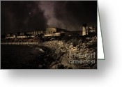 County Jail Greeting Cards - Nightfall Over Hard Time - San Quentin California State Prison - 5D18454 - Partial Sepia Greeting Card by Wingsdomain Art and Photography