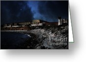 County Jail Greeting Cards - Nightfall Over Hard Time - San Quentin California State Prison - 5D18454 Greeting Card by Wingsdomain Art and Photography