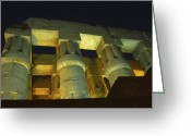 Tutankhamen Greeting Cards - Nightime at Luxor Temple  Greeting Card by Eleni Mac Synodinos