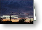 Telephone Pole Greeting Cards - NightLight Greeting Card by Luke Moore