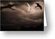 Eagle Prints Greeting Cards - Nightly Flight Greeting Card by Lourry Legarde