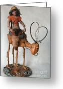 Animal Sculpture Sculpture Greeting Cards - Nightrider Greeting Card by Linda Apple