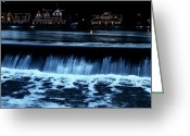 Rowing Crew Greeting Cards - Nighttime at Boathouse Row Greeting Card by Bill Cannon