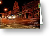 Vibe Greeting Cards - Nighttime by the Vibe Lounge Greeting Card by Anne Ferguson