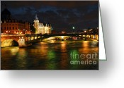European Photo Greeting Cards - Nighttime Paris Greeting Card by Elena Elisseeva
