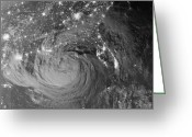 Disasters Greeting Cards - Nighttime View Of Tropical Storm Isaac Greeting Card by Stocktrek Images