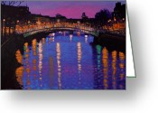 Night Scene Greeting Cards - Nighttown Ha Penny Bridge Dublin Greeting Card by John  Nolan