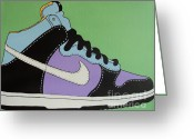 Athletic Painting Greeting Cards - Nike Shoe Greeting Card by Grant  Swinney