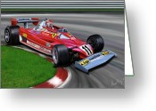 Ferrari Digital Art Greeting Cards - Niki Lauda F-1 Ferrari Greeting Card by David Kyte