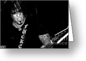 Tommy Lee Greeting Cards - Nikki Sixx Bassist Greeting Card by Christopher  Chouinard