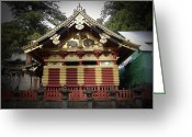 Old Pathway Greeting Cards - Nikko Architecture with Gold Roof Greeting Card by Irina  March