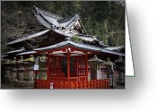 Old Pathway Greeting Cards - Nikko Monastery Building Greeting Card by Irina  March