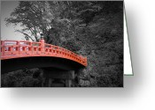 Contemporary Greeting Cards - Nikko Red Bridge Greeting Card by Irina  March
