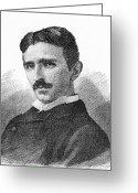 Tesla Greeting Cards - Nikola Tesla, Serb-us Physicist Greeting Card by 