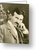 Tesla Greeting Cards - Nikola Tesla, Serbian-american Inventor Greeting Card by Photo Researchers