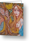 Camelot Pastels Greeting Cards - Nimue and Merlin Greeting Card by Tammy Mae Moon