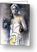 Nina Greeting Cards - Nina Simone Greeting Card by Yuriy  Shevchuk