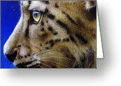Leopard Greeting Cards - Nina the Snow Leopard Greeting Card by Jurek Zamoyski