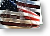 Flag Pyrography Greeting Cards - Nine Eleven MEMORIAL Greeting Card by Angel H Juarbe