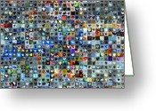 Grid Of Heart Photos Digital Art Greeting Cards - Nine Hundred and One Hearts Greeting Card by Boy Sees Hearts