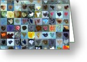 Grid Of Heart Photos Digital Art Greeting Cards - Nine Hundred Series Greeting Card by Boy Sees Hearts