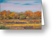 Red Leaves Pastels Greeting Cards - Nisqually Wildlife Refuge in Autumn Greeting Card by David Patterson