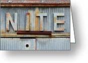 High Resolution Greeting Cards - NITE Rusty Metal Sign Greeting Card by Nikki Marie Smith
