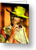 It Is As It Was Greeting Cards - Nixo Clint Eastwood Greeting Card by Nicholas Nixo