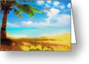 It Is As It Was Greeting Cards - Nixo landscape beach Greeting Card by Nicholas Nixo