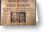 Nixon Greeting Cards - Nixon Resigns: Newspaper Greeting Card by Granger