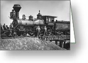 Iron Horse Greeting Cards - No. 120 Early Railroad Locomotive Greeting Card by Daniel Hagerman