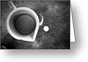 Black And White Abstract Greeting Cards - No Cream For My Coffee Greeting Card by Bob Orsillo