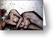 Nude Mixed Media Greeting Cards - No Five Greeting Card by Mark M  Mellon