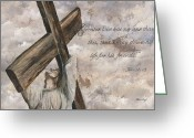 Jesus Greeting Cards - No Greater Love Greeting Card by Chris Brandley