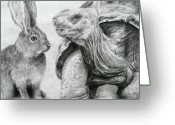 Hare Drawings Greeting Cards - No Hard feelings Greeting Card by Meagan  Visser